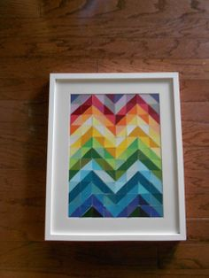 Paint Chip Chevron Wall Art RESUE OLD PAINT CHIPS  from big stores  they update regularly and throw them away!!!!