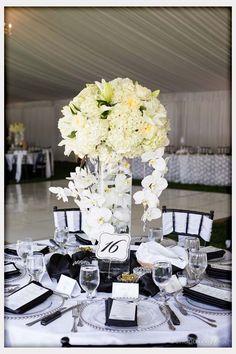 All White Wedding Centerpieces White Orchid Centerpiece, Black And White Centerpieces, White Wedding Decorations, Orchid Centerpieces, Wedding Table Centerpieces, Wedding Table Settings, Wedding Ideas, Centrepiece Ideas, Chic Wedding