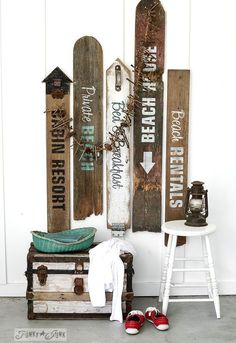 Beach Signs From Old Fence Boards