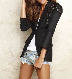 I love the casual look of the blazer, white tank and cut offs