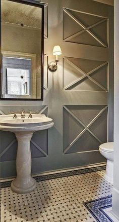 Spruce up your home's walls with the top 60 best wainscoting ideas. Explore unique millwork wall coverings and paneling interior designs. Beautiful Bathrooms, Modern Bathroom, Bathroom Mirrors, Downstairs Bathroom, Bathroom Wall Ideas, Wall Mirrors, Bathroom Designs, Design Rustique, Wall Molding