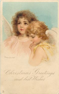 CHRISTMAS GREETINGS AND BEST WISHES  two angels, one looks up, the other looks down & prays by FRANCES BRUNDAGE