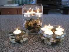 Quick and Easy Centerpiece:  Pebbles & Floating Tea Lights