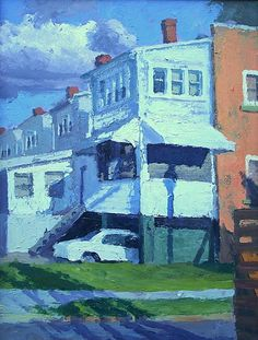 "Carport and Clouds, Northeast DC.  Acrylic on masonite. 24""X18"" - $3,000"