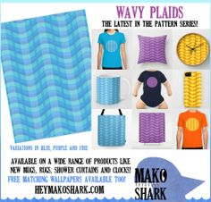 Three new prints join the rest of the Pattern Series! The Wavy Plaids come in three colors: blue, purple and fire. Like all Mako Shark illustrations, they are available on a huge variety of products, including exciting new products from Society6 like rugs, mugs and shower curtains! There are slight variations in these all-over patterns — the three colors are not all exactly alike! Shopping links available at the main site. Have fun and enjoy!
