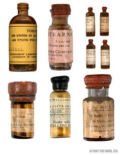 Vintage insulin bottles. (wow…I had no idea insulin use was even done back then…)