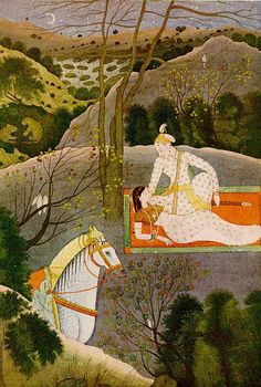 Lovers in a Moon-lit Retreat. India, Garhwal, ca. 1780. Kasturbhai Lalbhai Collection, Ahmedabad