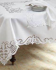 Fleur-de-Lis Cutwork Table Linens at Neiman Marcus. Cutwork Embroidery, White Embroidery, Embroidery Patterns, Linen Tablecloth, Table Linens, Tablecloths, Lace Beadwork, Cut Work, Linens And Lace