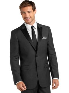 Suits - Tallia Charcoal Gray Herringbone Modern Fit Tuxedo - Men's Wearhouse