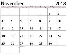 November 2018 Holiday Calendar November Calendar Pinterest