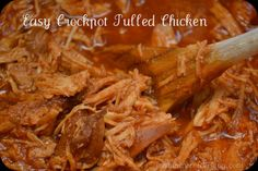 Crockpot pulled chicken  Click to see the recipe