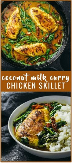 Chicken skillet with coconut milk curry recipe - This chicken skillet is simmered in a spicy Thai inspired coconut milk curry along with baby spinach leaves and sun-dried tomatoes. Great with rice or noodles.