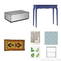 Decorating Wishlist Including Accent Table Blue Furniture Rug And Brown Wallpaper From October 2016 #home #decor