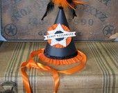 vintage inspired handmade halloween party hat vintage image. $20.00, via Etsy.