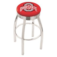 """Ohio State Buckeyes 25"""" Chrome Swivel Bar Stool with 2.5"""" Ribbed Accent Ring"""