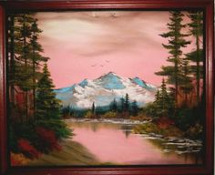 Oil painting inspired by Bob Ross