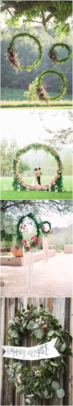 Wedding Decorations » Top 22 Creative DIY Wedding Wreath Ideas Worth Stealing » ❤️ More: www.weddinginclud... Find your floral inspo at www.pinterest.com/laurenweds/wedding-flowers?utm_content=buffer80ec4&utm_medium=social&utm_source=pinterest.com&utm_campaign=buffer