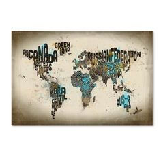 Trademark Fine Art Map of the World Watercolor Iii Canvas Art by Michael Tompsett, Size: 12 x 19, Brown