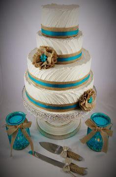 Rustic Wedding Cake Teal Burlap Cakes By Mn Https Www