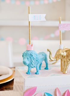 DIY Painted Animals with Crowns + Free Printable Baby Shower Flags