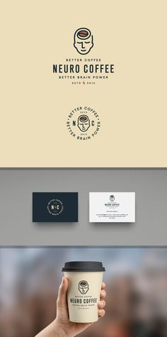 99 best logos for creative inspiration. Design by Dimitry99 for Neuro Coffee, infused with natural ingredients for better brain and memory health. #caffeine #branding #design