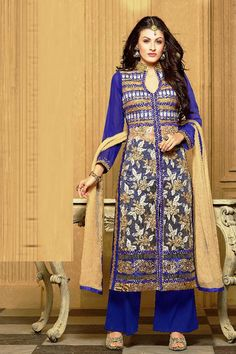 Blue Georgette Party Wear Salwar Kameez                                                                                                                                                     More