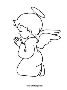 Disegni Natale: angelo da colorare - TuttoDisegni.com