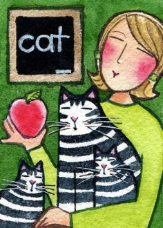 Teacher's Pet ACEO/ Cat Lady & Kittens/ by Susan Faye Pet Projects