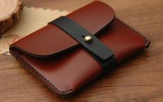 Leather Card Case Minimal Leather Wallet Card by BunnysGoods