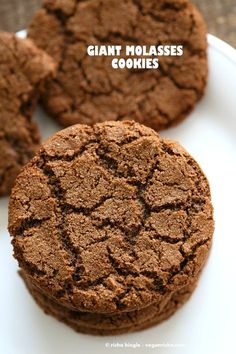 One Bowl Giant Molasses Cookies. Vegan Ginger molasses cookies. Huge, chewy and Crinkles! Easy #Holiday #Christmas #Cookie #Recipe.| VeganRicha.com