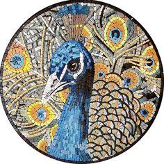 AN048 Marble Mosaic Peacock Medallion Tile
