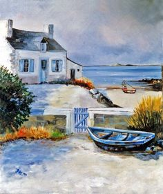 Painting – Art and Literature Watercolor Pictures, Watercolor Landscape Paintings, Seascape Paintings, Landscape Art, Watercolor Paintings, Watercolour, Pictures To Paint, Art Pictures, Boat Painting