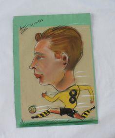 1964/ORIGINAL PASTEL CARICATURE/ Soccer Memorabilia by BYGONERA, $80.00