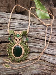 Macrame Necklace Pendant Aventurine Stone Gemstone Handmade Handcrafted #Handmade #Pendant