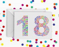 18 Birthday Card, Rainbow, Number eighteen Card, Card for Teenager, 18th Birthday, Happy Birthday Card, 18th Birthday Card, just a card