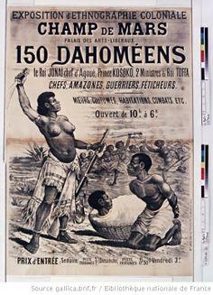 Exposition d'ethnographie coloniale. Champ de Mars, Palais des Arts libéraux. 150 Dahoméens. Le Roi Jonaï chef d'Agoué, Prince Kosoko, 2 Min...