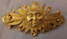 Vintage French Clip Large Gold SUN Face Hair Barrette Metal | eBay