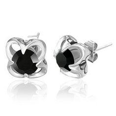 Silver Tone Flower Cross Stud Earrings with Black CZ #earrings #fashionyourway #black
