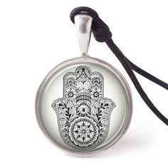vietguild Hamsa Hand Necklace Pendants Pewter Silver
