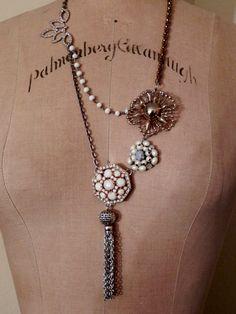 Vintage Upcycled Repurposed  Necklace-  Brooch Earring Tassel. $68.00, via Etsy.