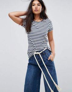 Hilfiger Denim THDW CN S/S 40, T-Shirt Femme, Blanc (Snow White/Multi), MediumTommy Jeans