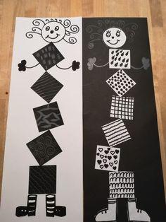 Clowns in schwarz-weiß – Best Education Art Lessons Elementary, Elementary Schools, Newspaper Art, Cardboard Sculpture, Ecole Art, Art N Craft, Kindergarten Art, Elements Of Art, Art Club