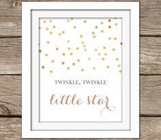 Star Wall Art - Printable Wall Art, Instant Download, Gold, Nursery Artwork, Typography, DIY, Twinkle, Nursery Rhyme, Pink, Baby Girl