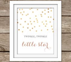 Star Wall Art - Printable Wall Art, Instant Download, Gold, Nursery Artwork, Typography, DIY, Twinkle, Nursery Rhyme, Pink, Baby Girl