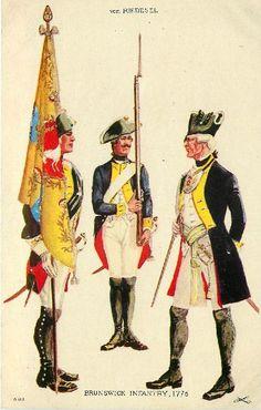 Brunswick Infantry, 1776 -Brunswick Infantry Regt. von Riedesel, 1776 (Lt. Colonel von Spaeth, Musketeer, Color Bearer, and Company Officer)