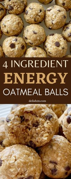 4 INGREDIENT ENERGY OATMEAL BALLS Chewy Sugar Cookie Recipe, Cookie Recipes, Natural Peanut Butter, Creamy Peanut Butter, Banana Oatmeal Pancakes, Mini Chocolate Chips, Popular Recipes, 4 Ingredients, Balls