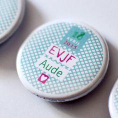 Lot de 10 badges personnalisables mariage #01 / evjf / anniversaire