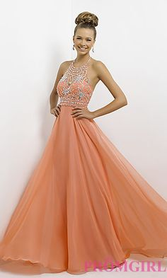 Long Open Back Halter Gown by Blush 9723 at PromGirl.com