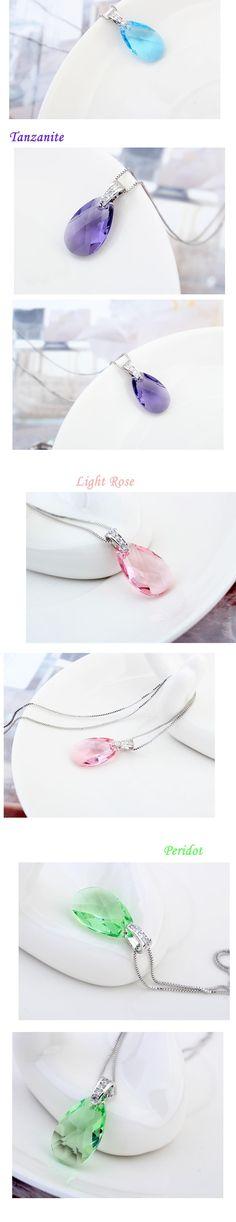 Original SWAROVSKI ELEMENTS crystal drop pendant necklace light rose