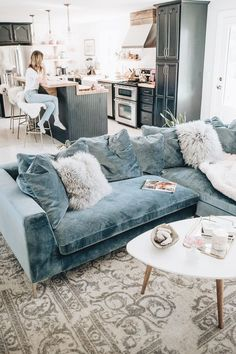 Jess Ann Kirby decorated her living room with the Hugo sectional in vintage solstice Living Room Sectional, Cozy Living Rooms, Home Living Room, Sectional Sofa, Living Room Decor, Colorful Living Rooms, Blue Couch Living Room, Sectional Furniture, Apartment Living